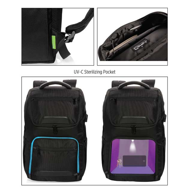CASTILE UV C Sterilization Backpack in Anti microbial RPET Fabric 4