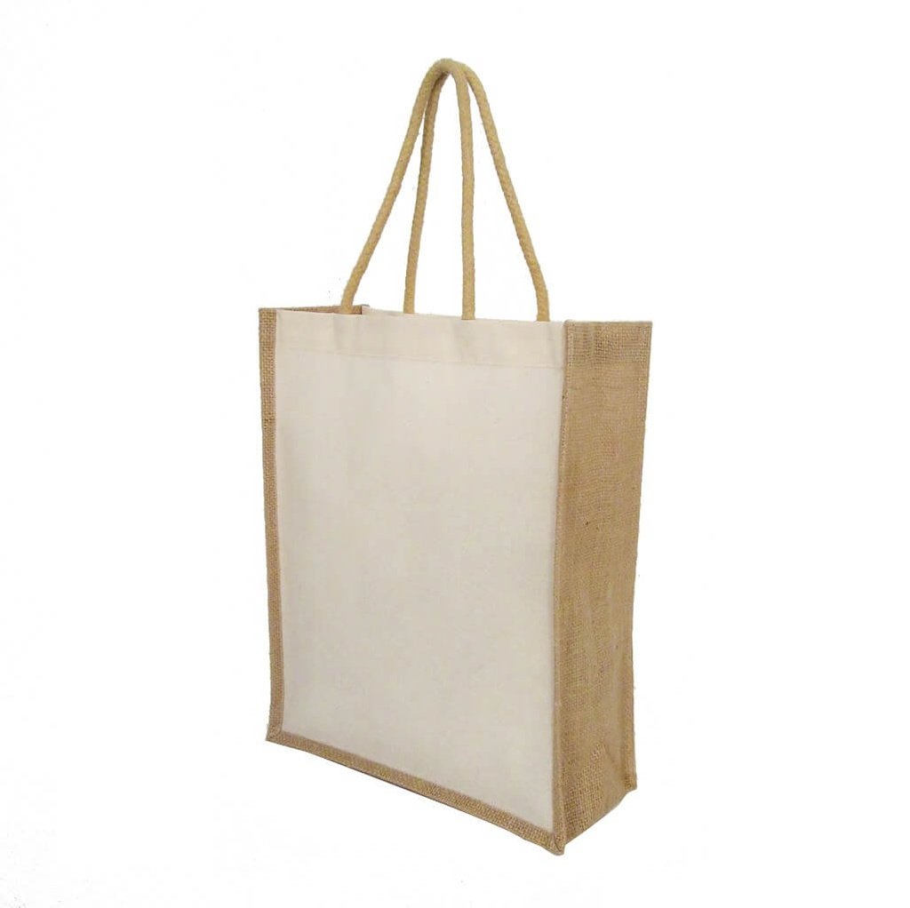 CTEN 101 Eco neutral Cotton Shopping Bag With Jute Gusset